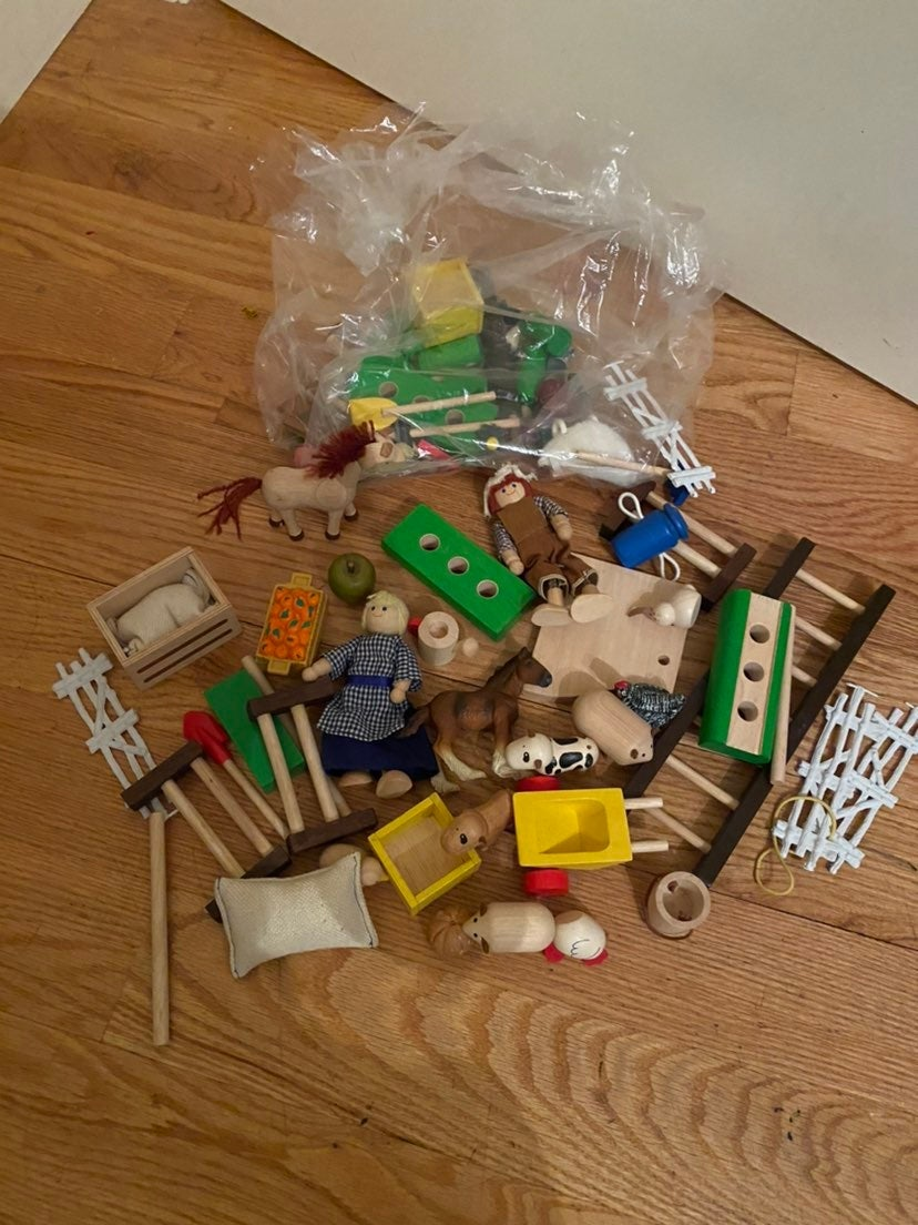 PlanToys Wooden Farm Animals, People And