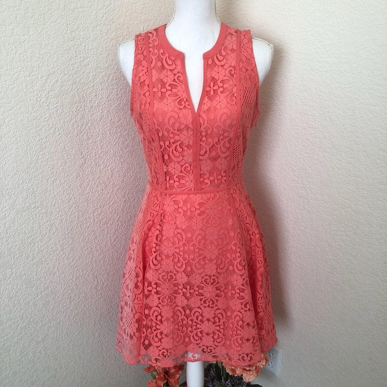 LC Lauren Conrad Coral Lace Dress 8