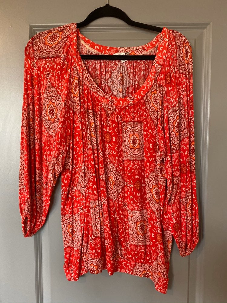 Red Patterned Top