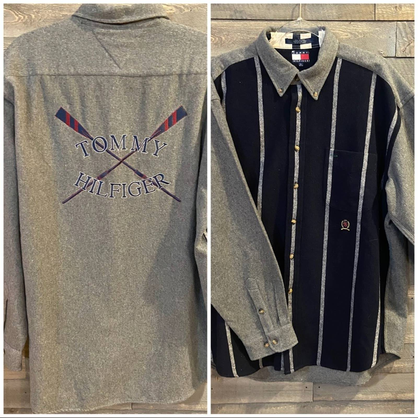 Vtg 90s Tommy Hilfiger Oars Wool Shirt