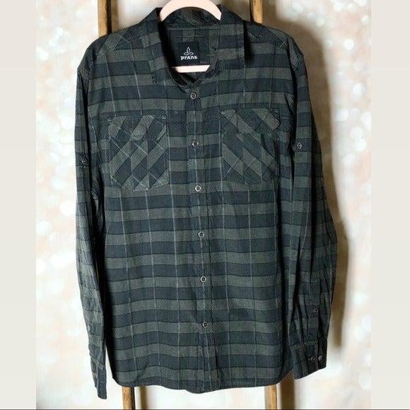 PRANA Grey Black Plaid Button Down Shirt