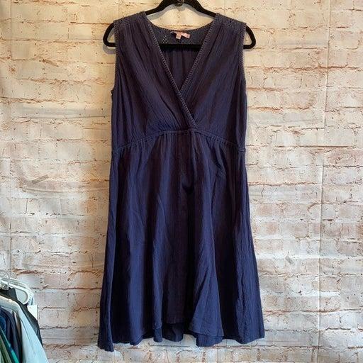 Calypso St Barth Dress sleeveless M blue surplice neckline knee length empire