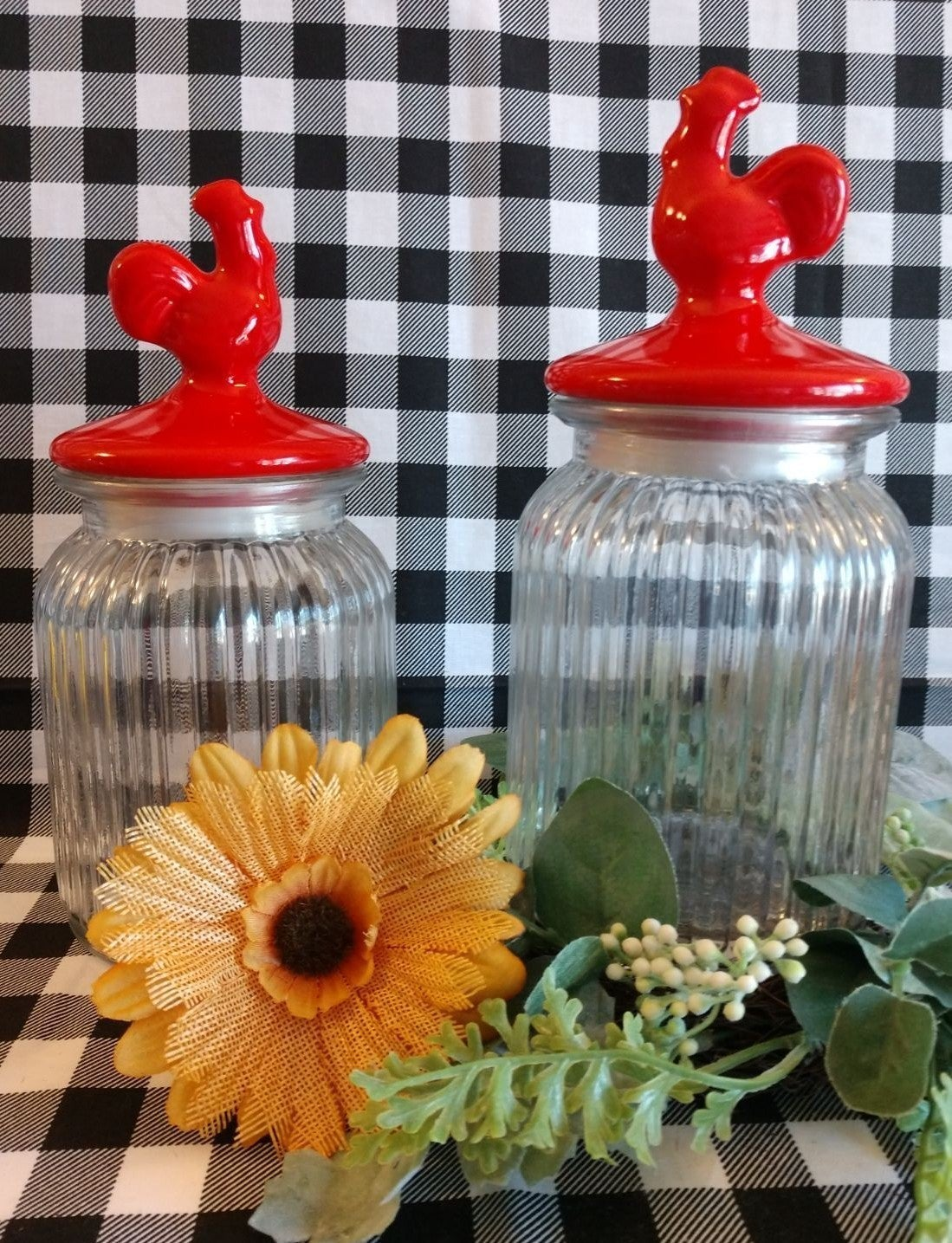 Farmhouse Rooster Glass Canister/2
