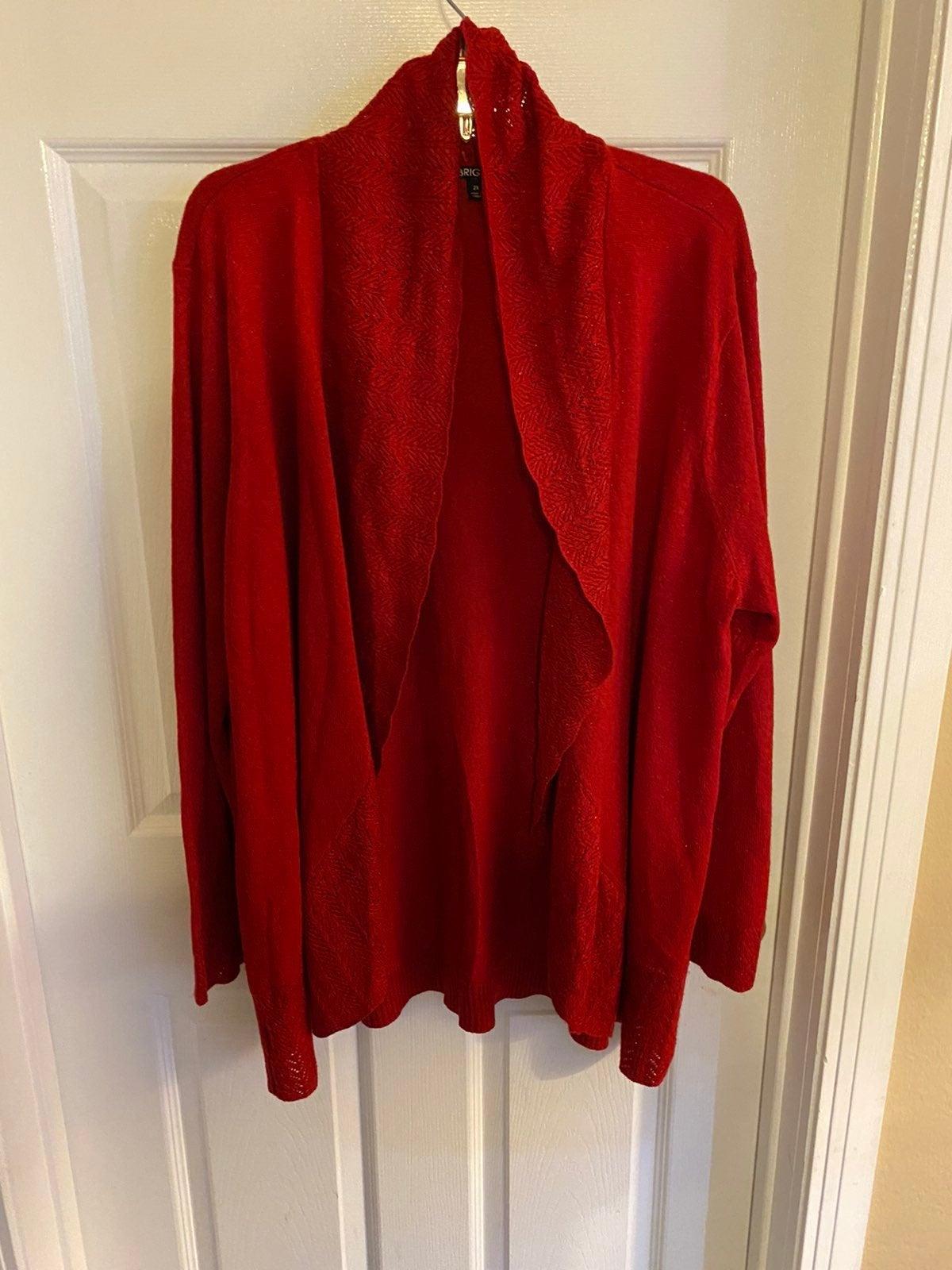 Briggs 2XL Red Cardigan Sweater plus
