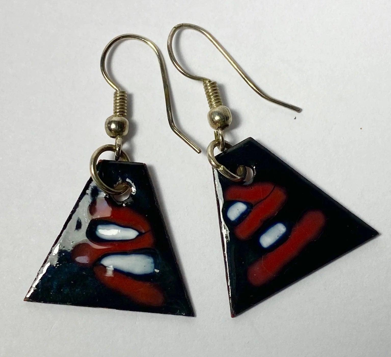 Copper Enamel Triangle Earrings
