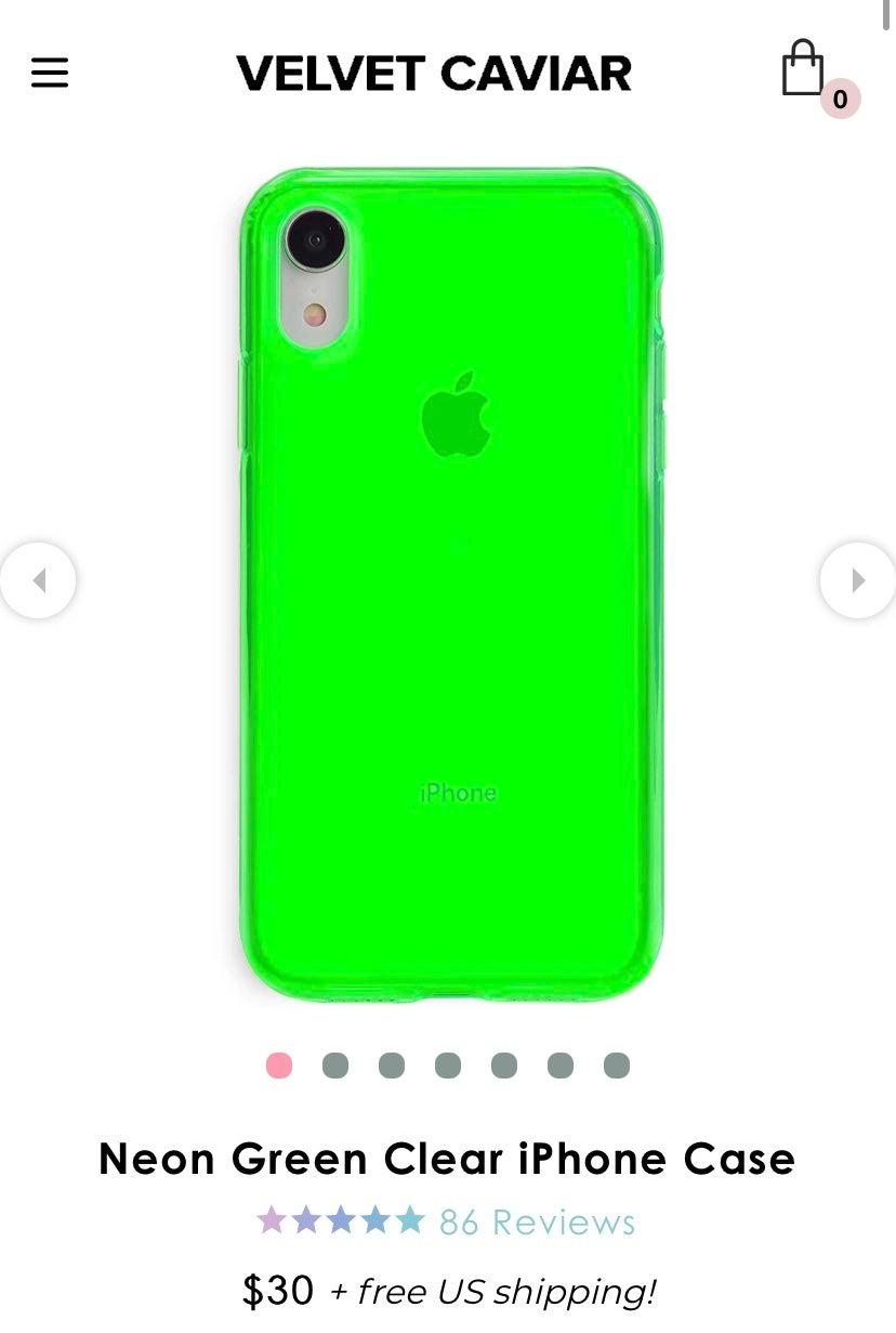 Velvet Caviar iPhone XR Neon Green Clear
