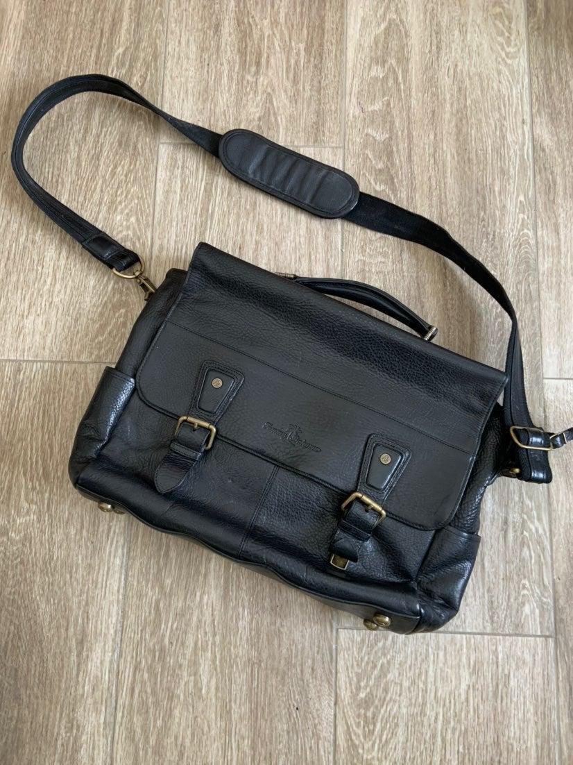 Tommy Bahama Black Leather Messenger Bag