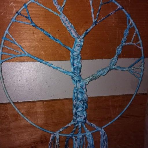 13.5 inch hoop aqua colored Tree of Life