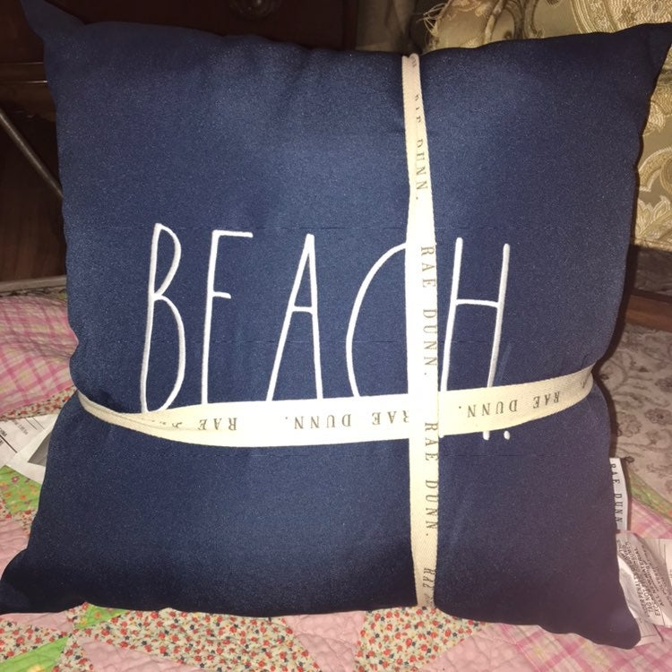 2 Rae Dunn BEACH HOUSE Navy Blue Pillows