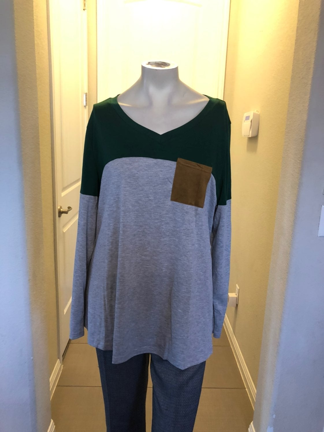 Suede pocket and elbow tunic