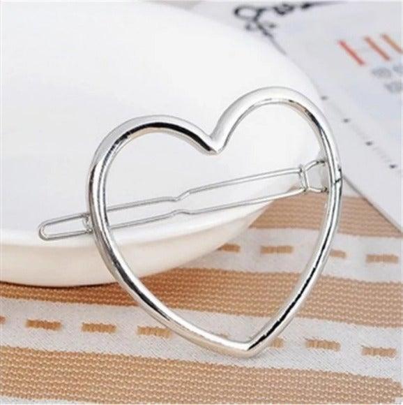 Brandy Melville Heart Hair Clip Silver