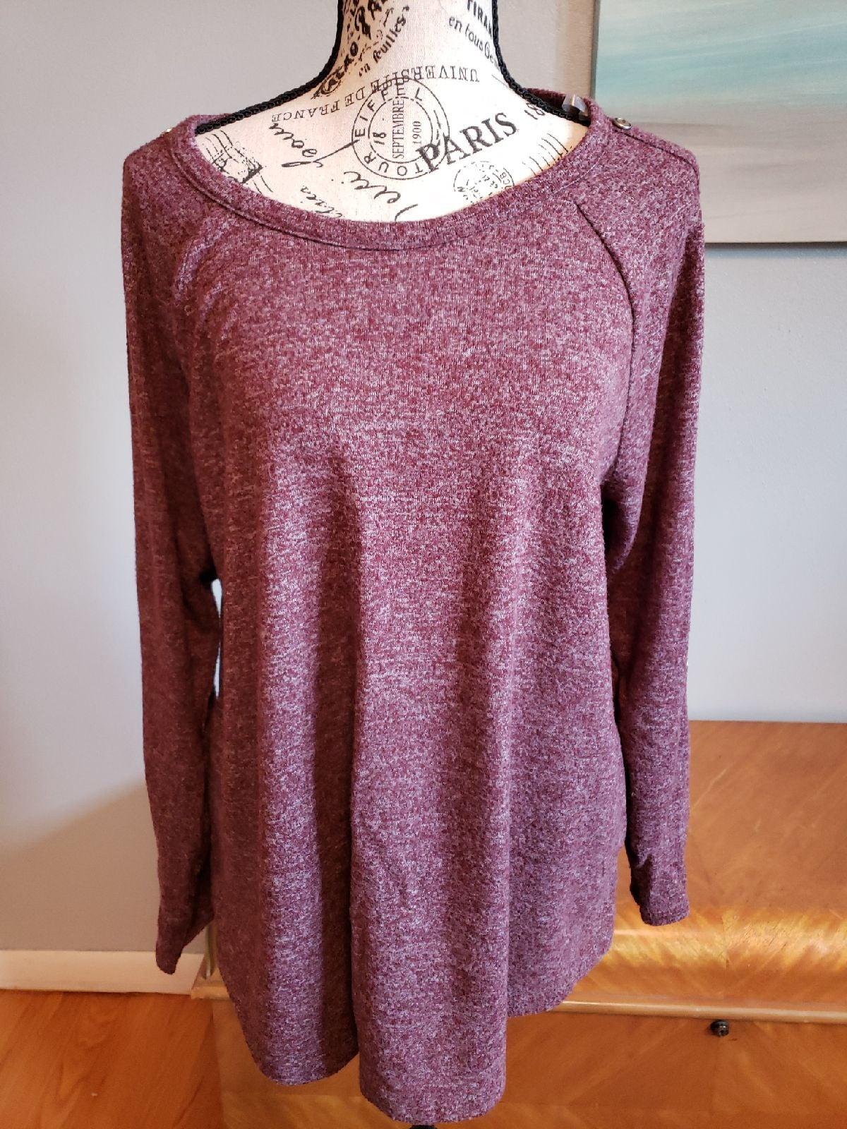 Stitch Fix Pink Clover Knit Top plum
