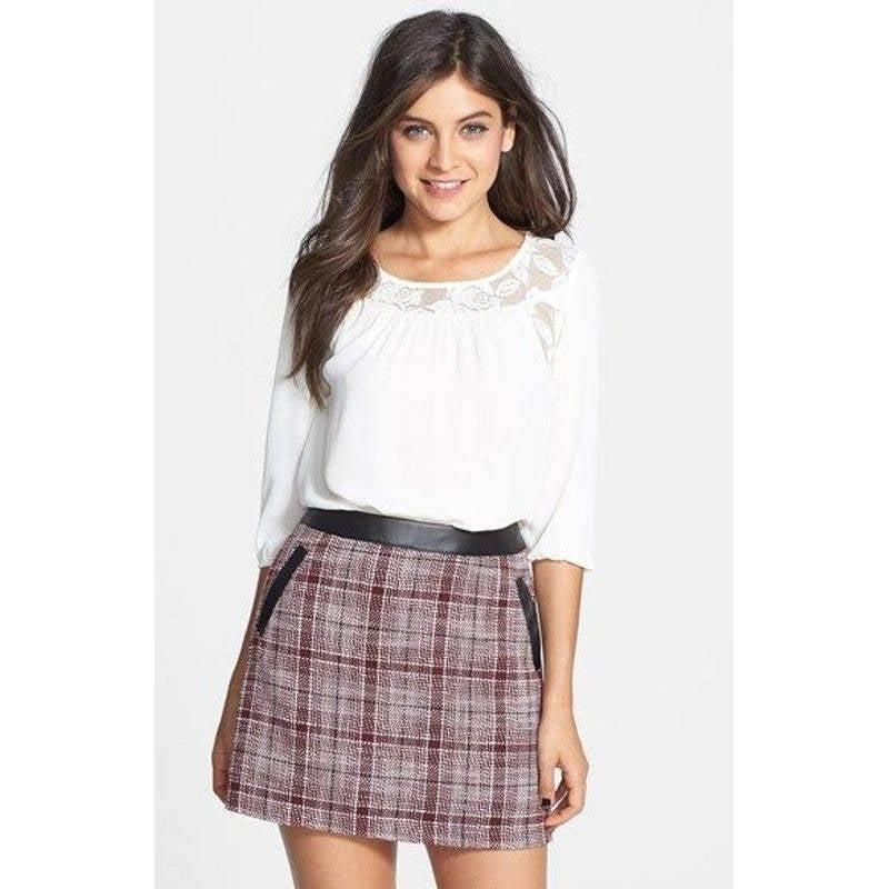 Frenchi Faux Leather Plaid Mini Skirt M