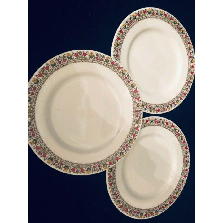 "Royal Doulton Fireglow China TC 1080 3 Bread Butter Plates Tulip Edging 6-1/2"""
