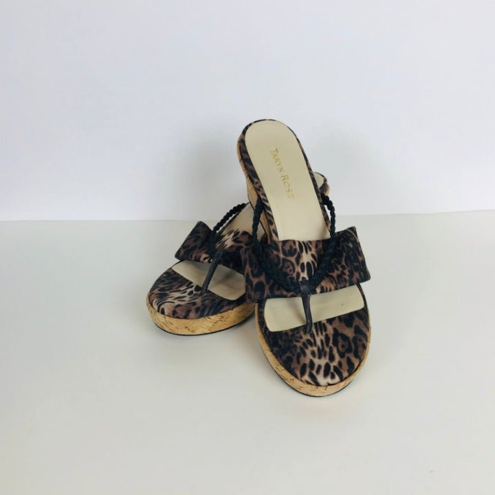 Keely Leopard-Print Wedge Sandal 8.5