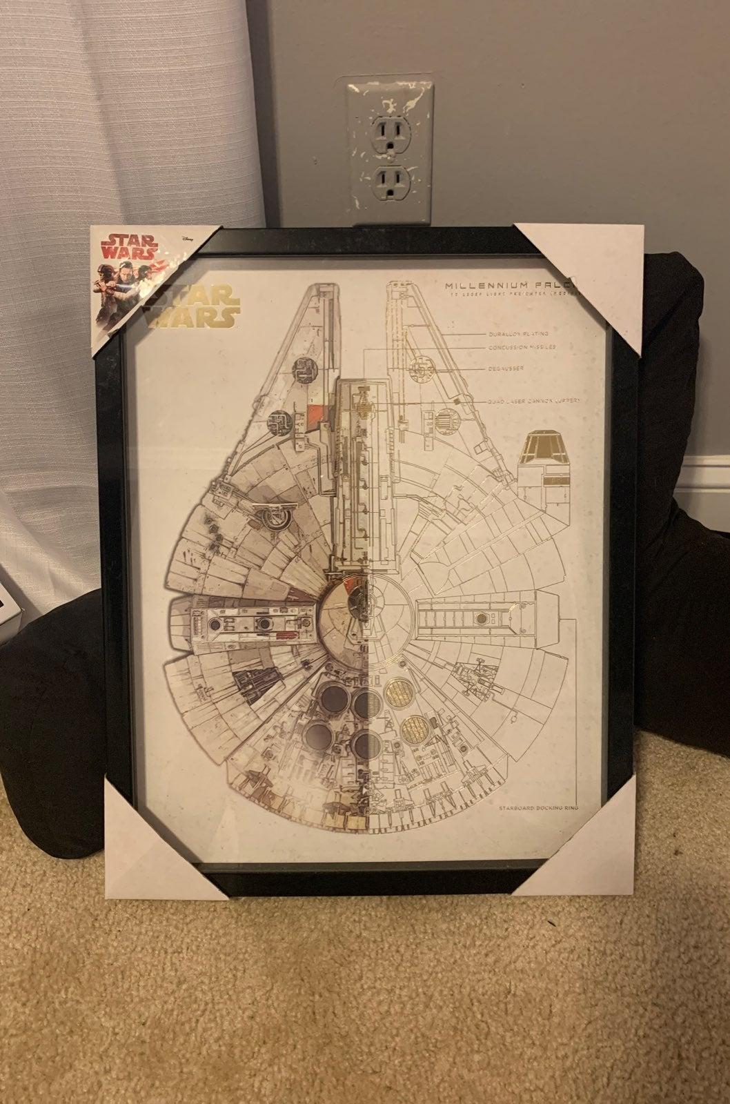 Star wars millennium falcon wall frame