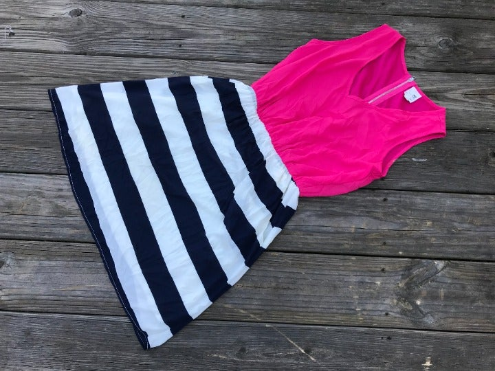 Pink Owl Women Dress Pink/Blue/White Sle