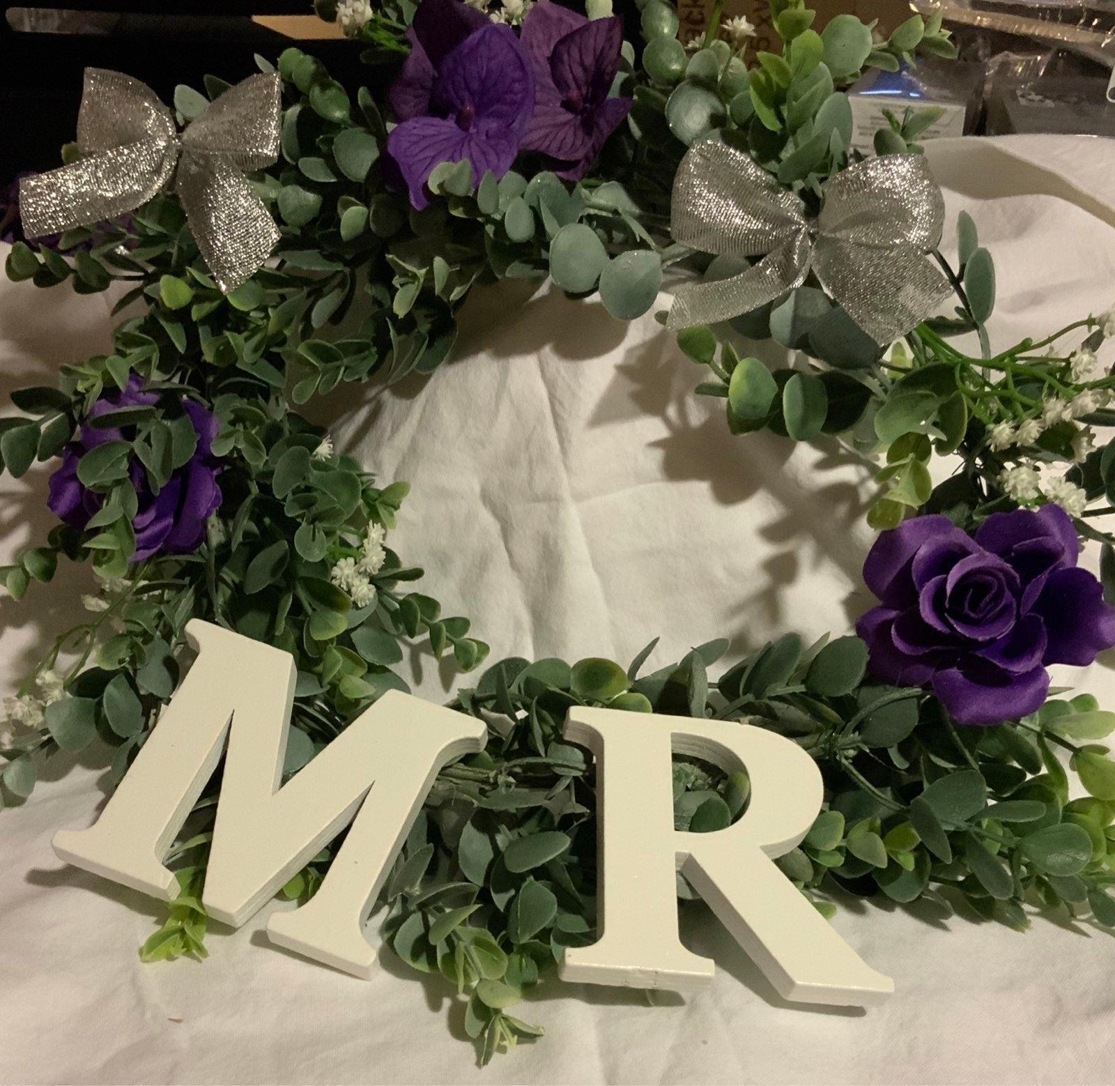 Bridal and groom table wreaths