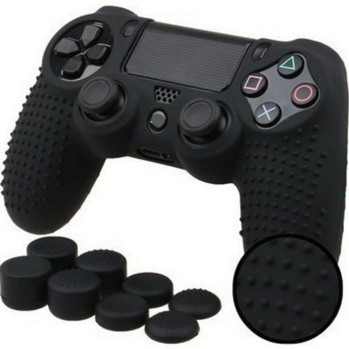 For PS4 Controller Silicone Black Grip