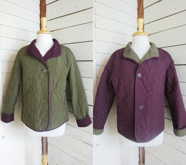 Green Purple Quilted Reversible Jacket