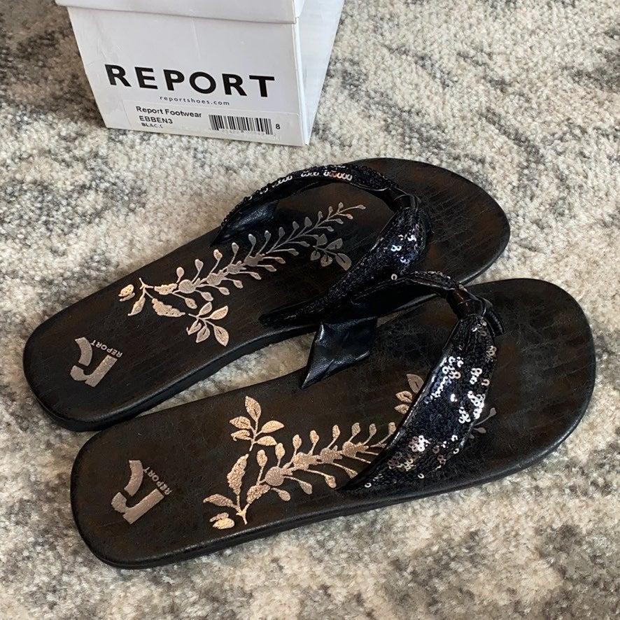 Report black sequin sandals flip flops 8