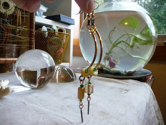 Curved Brass Tube Indian Glass Earrings