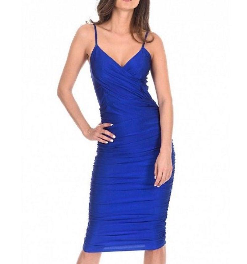 Blue ruched midi maxi dress