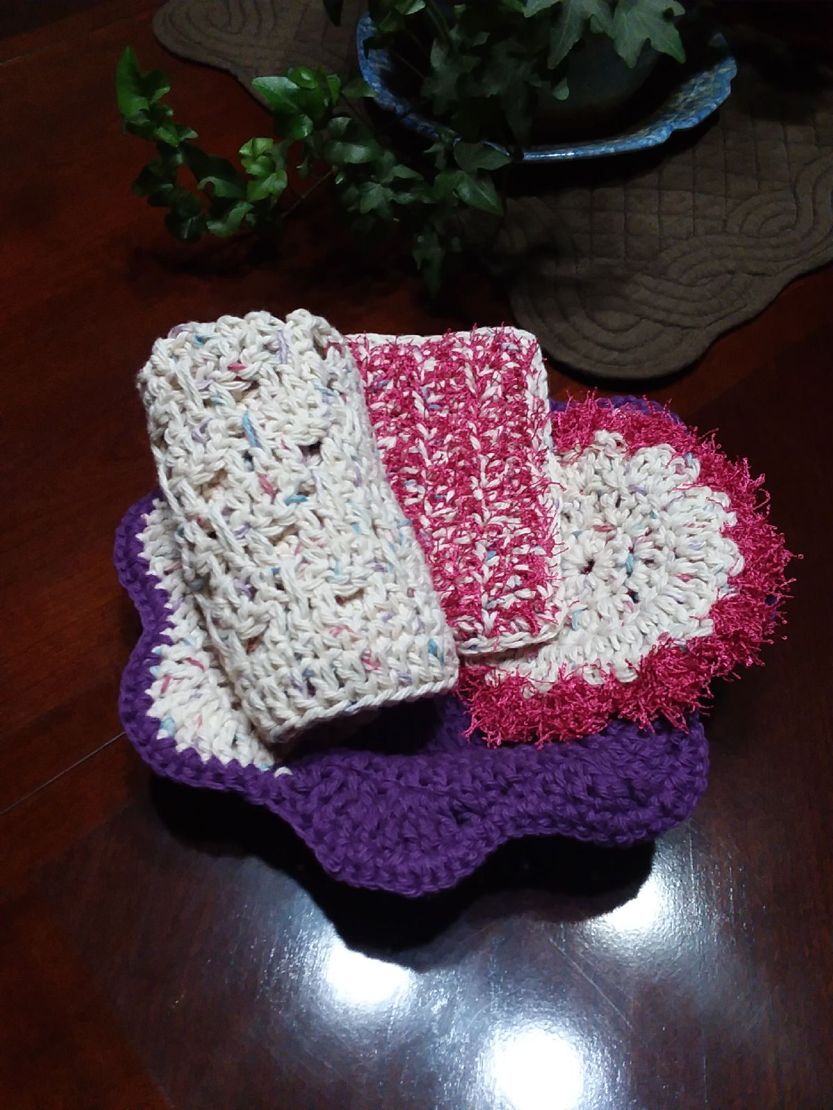 Crocheted microwave bowl cozy