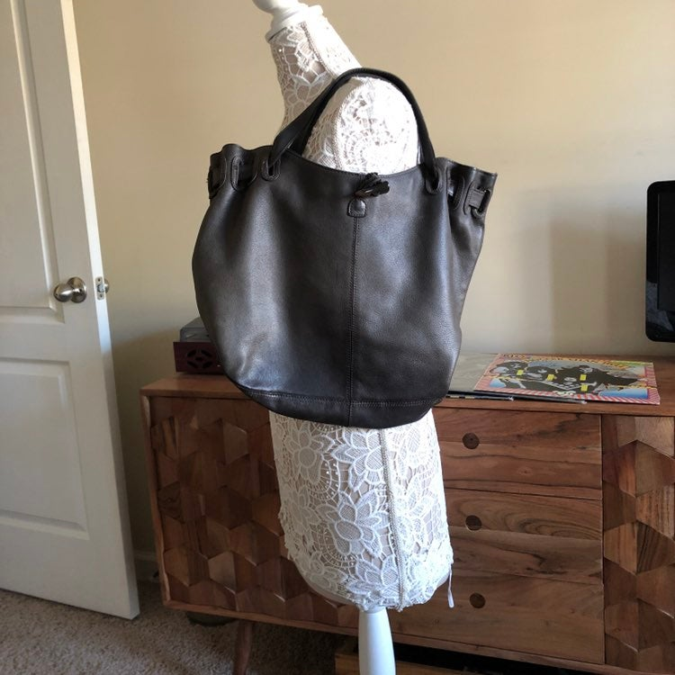 Old Navy Brown Leather Bucket bag purse