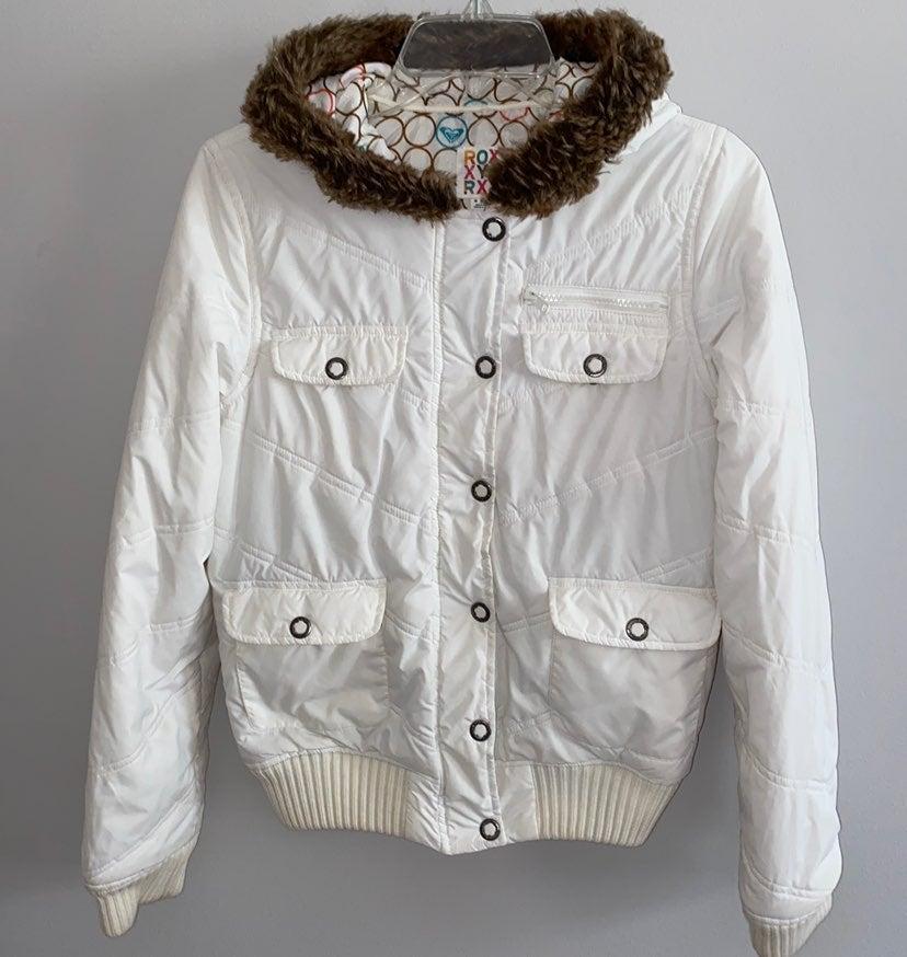 Roxy White Hooded Bomber Jacket