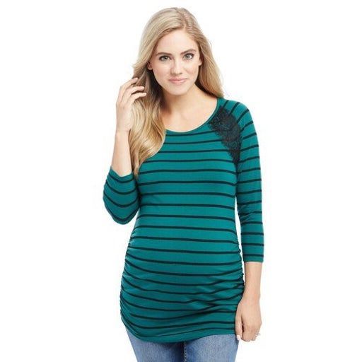 Maternity Striped Lace Top