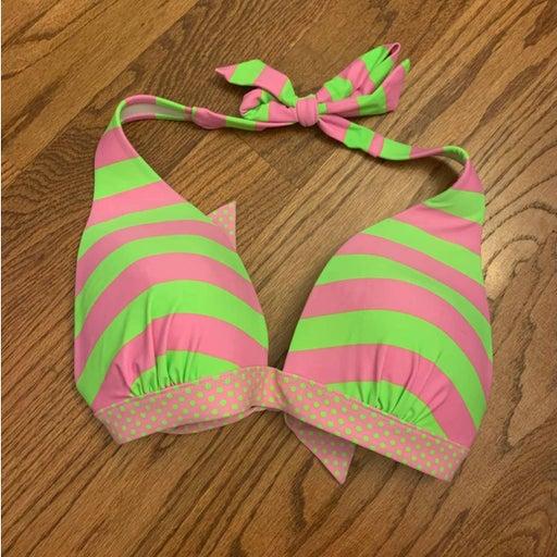 Mudd green and pink striped bikini top