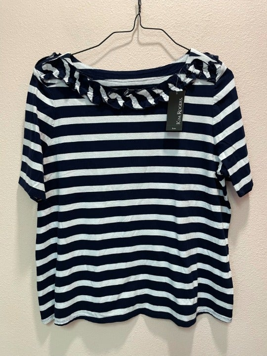 Ruffle neck striped shirt