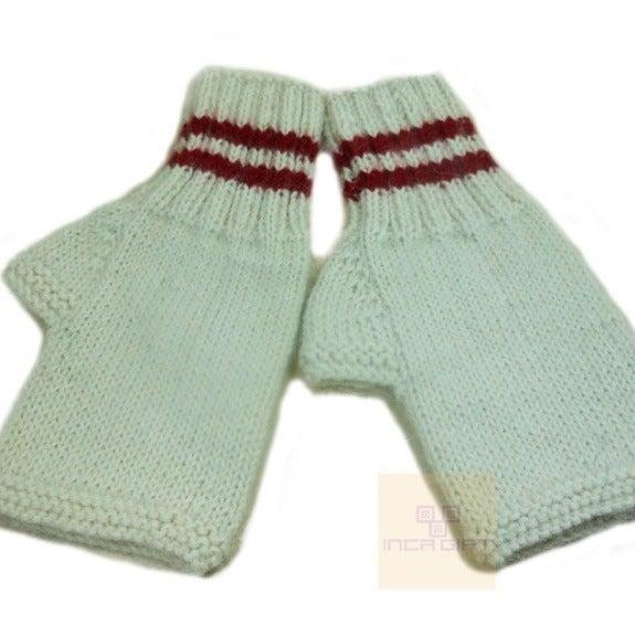 White-Red Handmade Alpaca Gloves