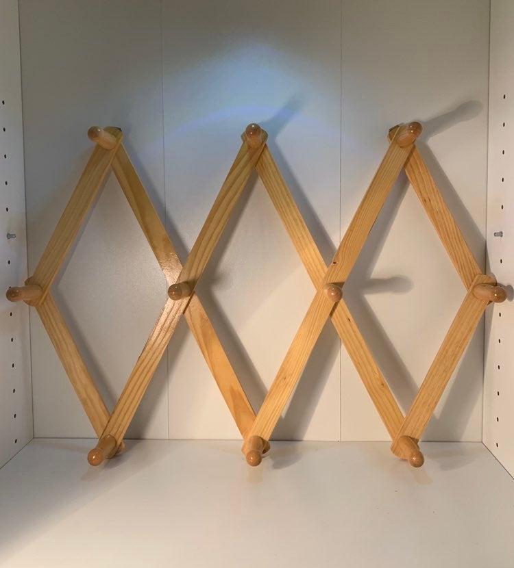 Vintage Accordian Wood Peg Hook Decor NW