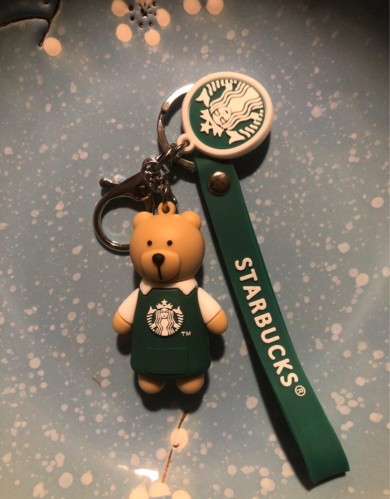 Bear starbucks keychain green