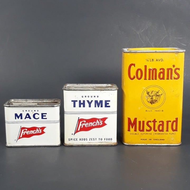 VTG Colmans & Frenchs Spice Herb Tin Lot
