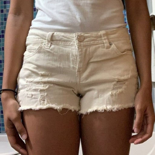 Cream/Off-White Jean Shorts