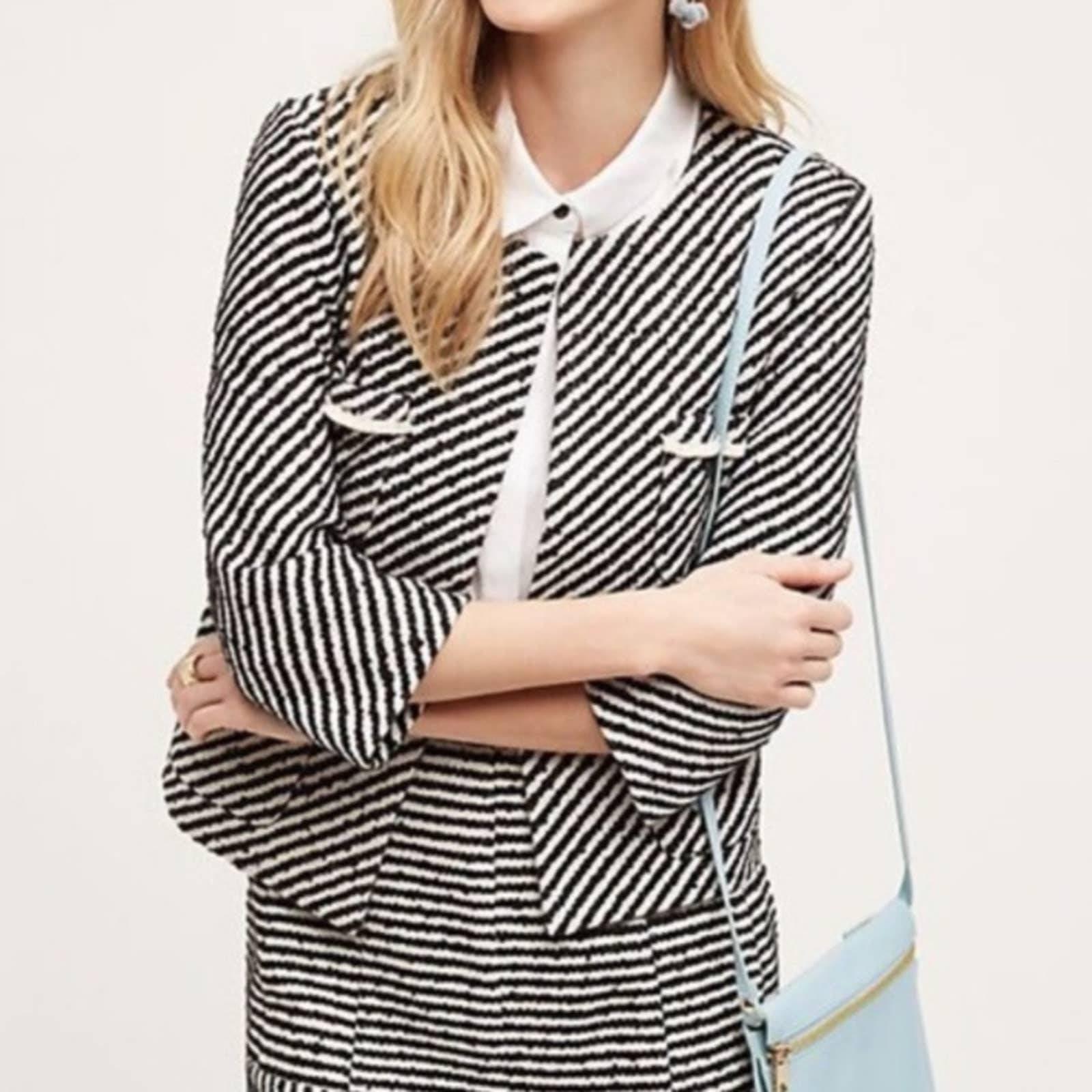 Anthropologie Harlyn Tweed Stripe Blazer