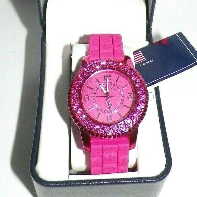 U.S. Polo Assn Womens Pink Crystal Watch