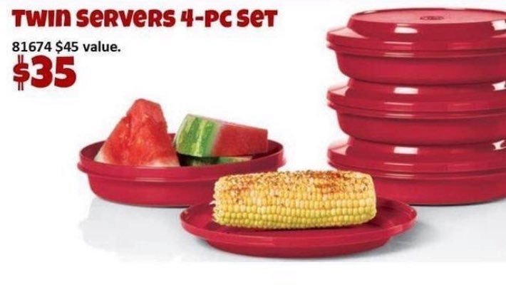 Tupperware set of 4 plates