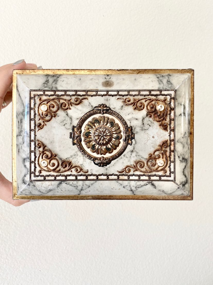 Metal Faux Marble Vintage Jewelry Box go