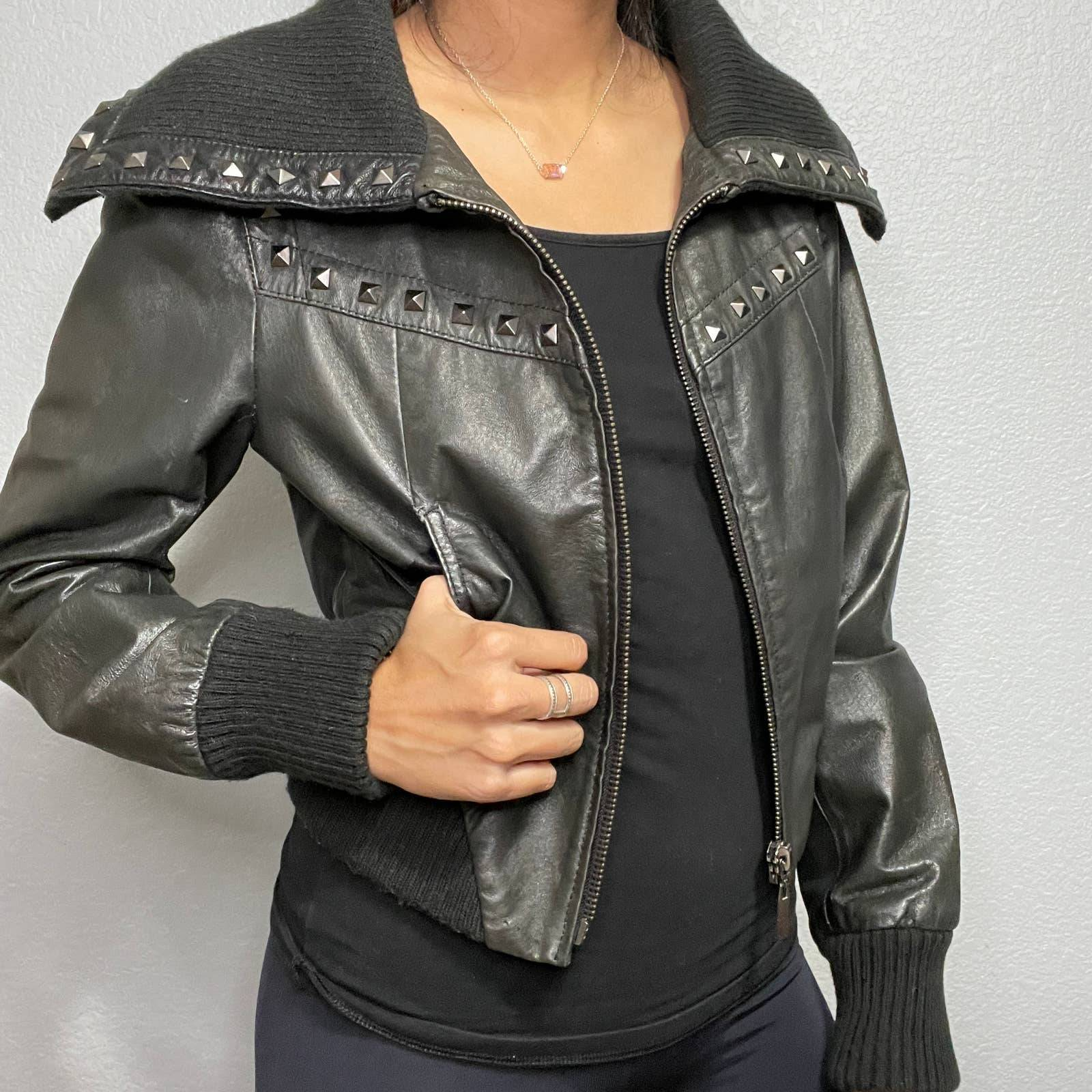 Cropped Leather and Suede Moto Jacket Size XS Bebe Vintage 90s