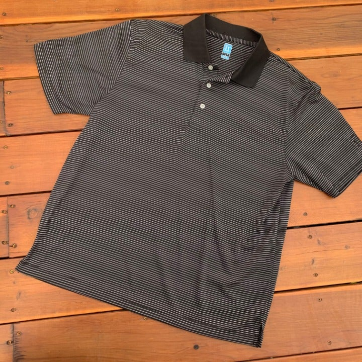 PGA Tour Black & White Striped Polo