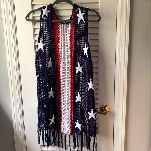 Crochet american flag vest