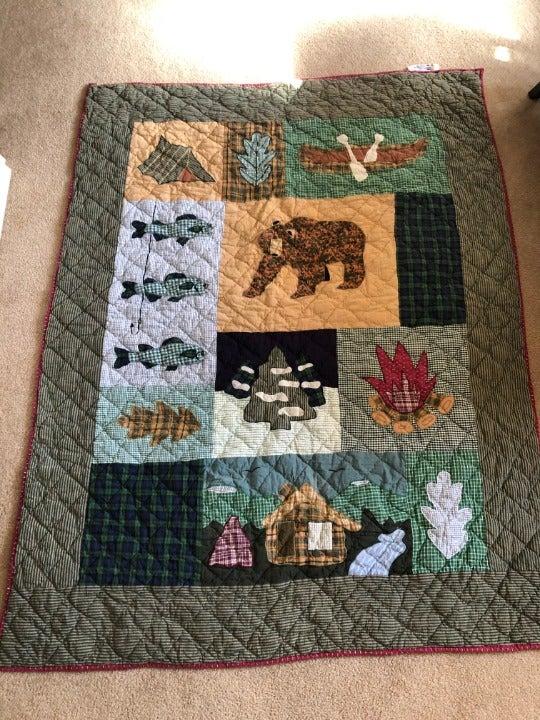Patchwork Blanket QUILT Vintage 1980s
