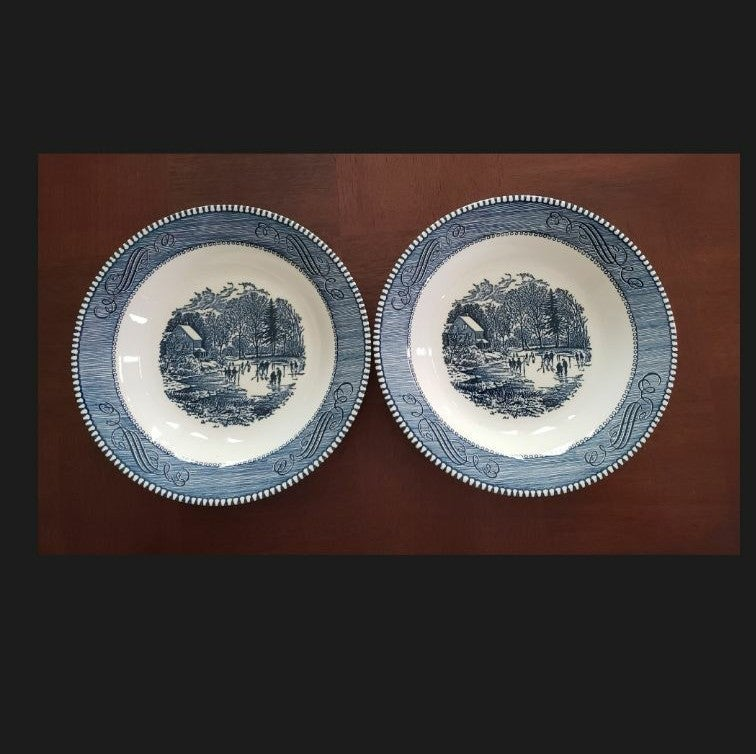 """Set of 2 Currier and Ives 8"""" soup plates"""