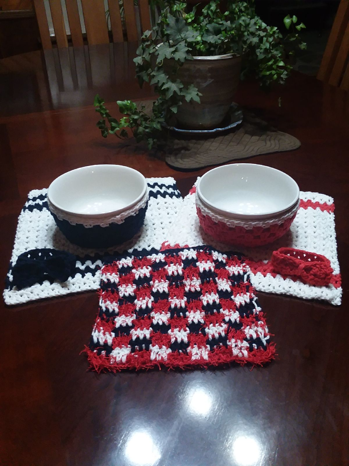 Soup bowls with cozies and napkins