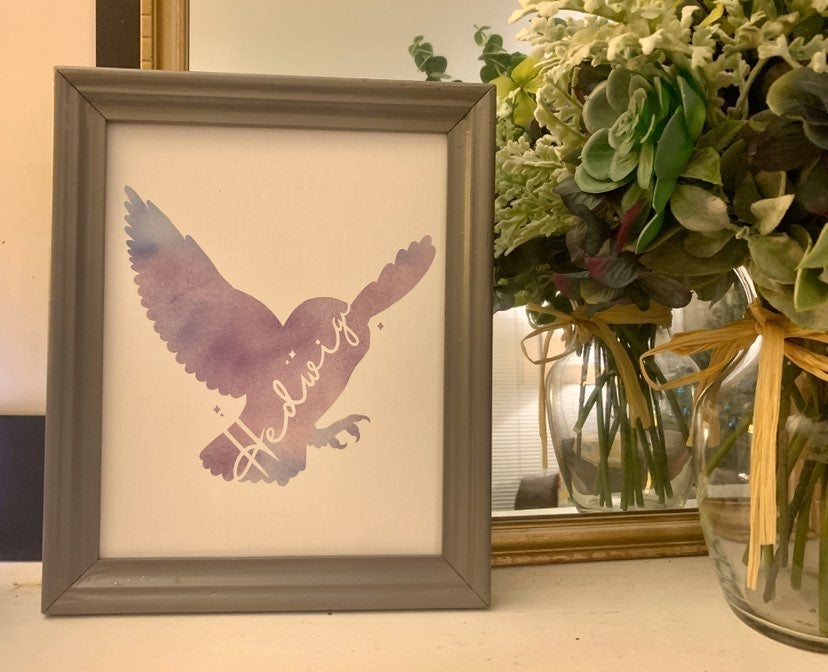 Hedwig Watercolor Canvas Panel w/ Frame