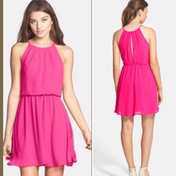 LUSH Skater Mini Dress, Pink Chiffon, XS